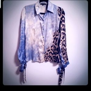 Roberto Cavalli 100% Silk Mixed Media Shirt...S